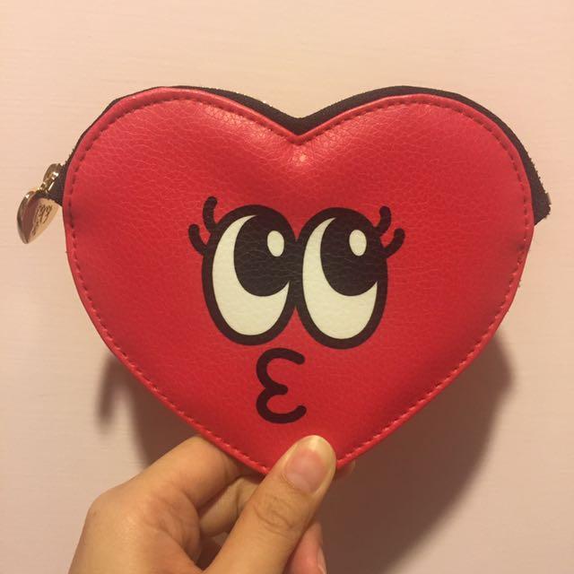 韓國帶回愛心眼睛嘟嘴可愛零錢包含運