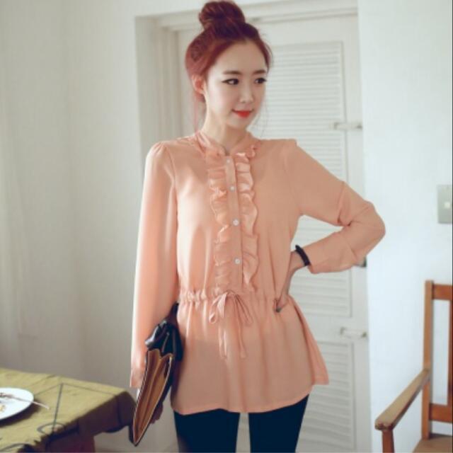 韓國荷葉粉橘色雪紡襯衫