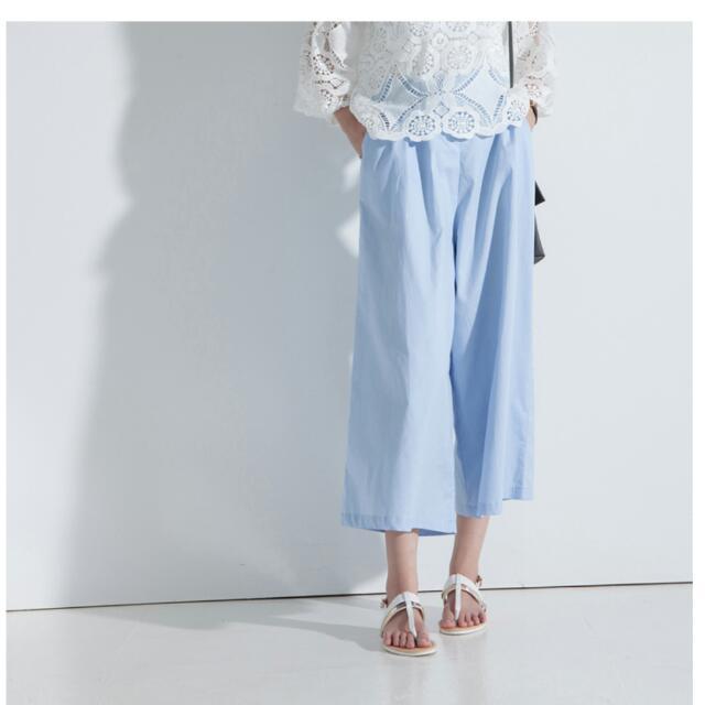 高腰有內裏後鬆緊顯瘦打折寬褲-藍色
