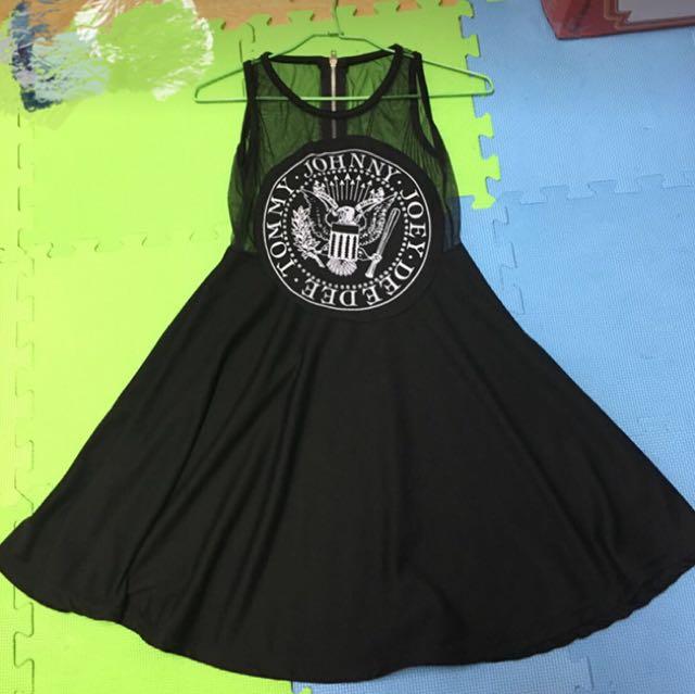 無袖網紗拼接洋裝