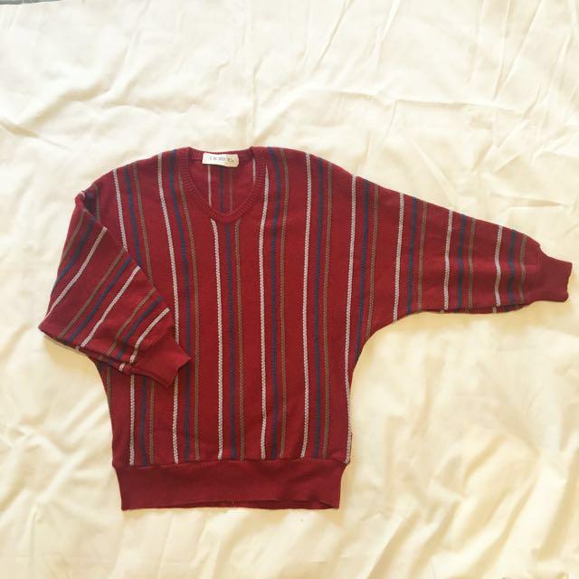 🇯🇵日本製古著設計條紋寬袖小紅毛衣