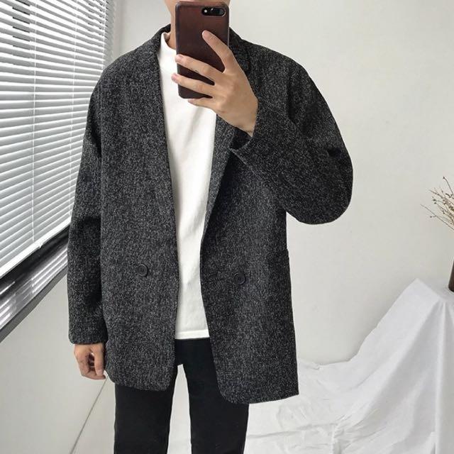 韓復古短版夾棉大衣