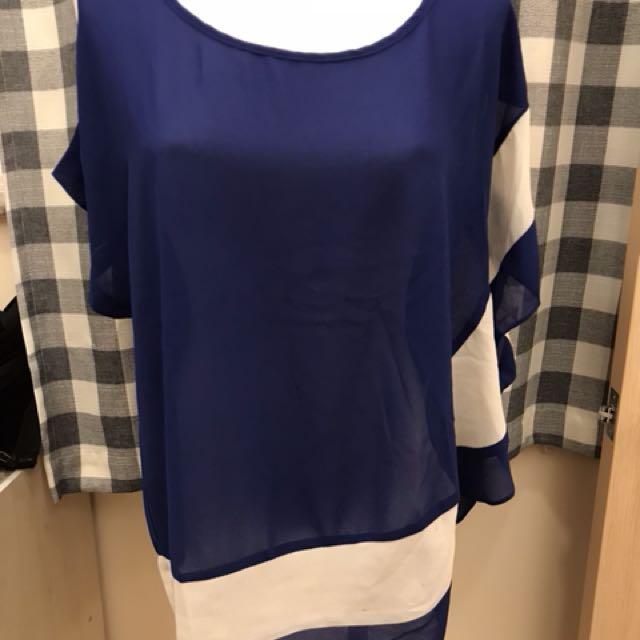 藍白雪紡上衣