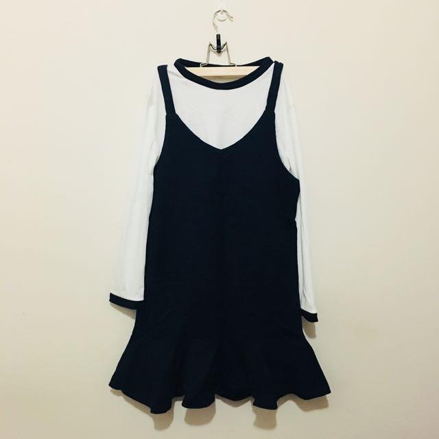深藍色兩件式魚尾洋裝(全新)