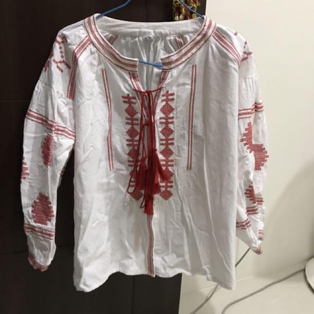 韓 民俗風厚棉麻長袖襯衫