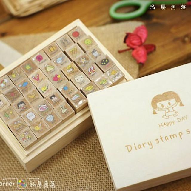 韓國日記印章組 木盒印章組 木頭印章組 可愛印章