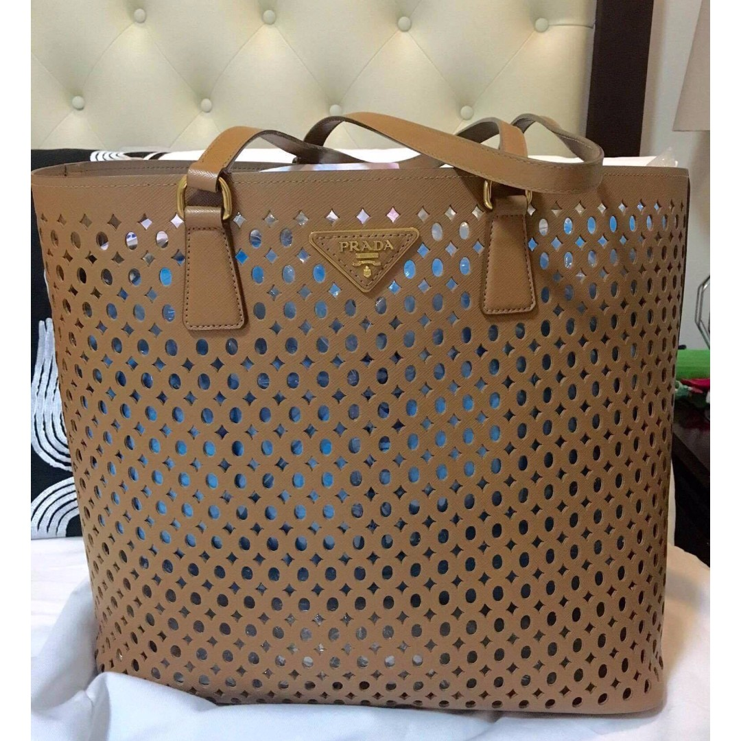 Authentic Prada Perforated Saffiano Leather Tote Like New!