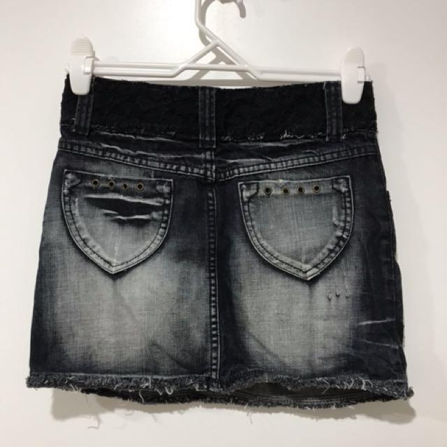 Black denim skirt (size 8)