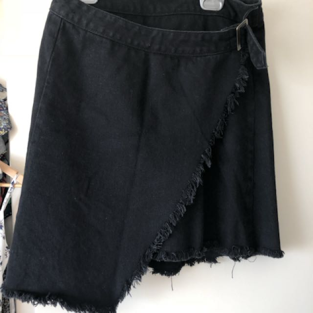 Black denim wrap skirt 10 raised by wild brand - princess Polly