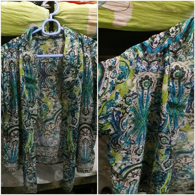Blue & Green Printed Kimono