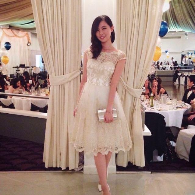 Chi Chi London Gold Lace Elegant Midi Dress