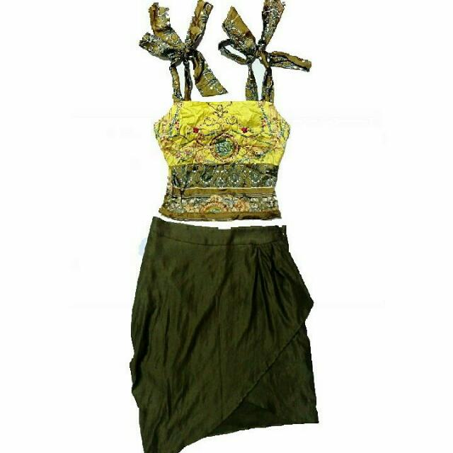 D&G ins Printed Tie Strap Top + Overlap Skirt - Sold As Set