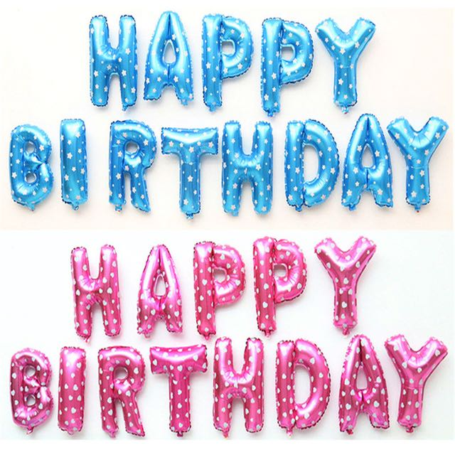 Pink Happy Birthday Letter Balloons.Happy Birthday Foil Letter Balloons
