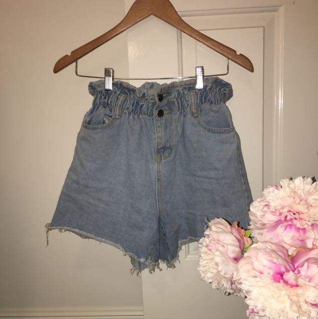 High Waisted Denim Ruffle Shorts