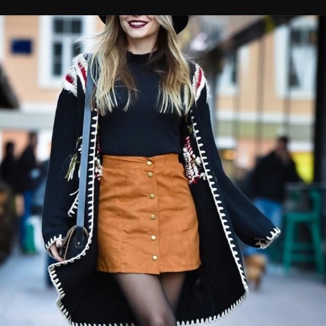 HOLLISTER Burnt Orange Felt Button-Up Skirt