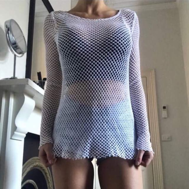 Kookai size 1 white mesh long sleeve top