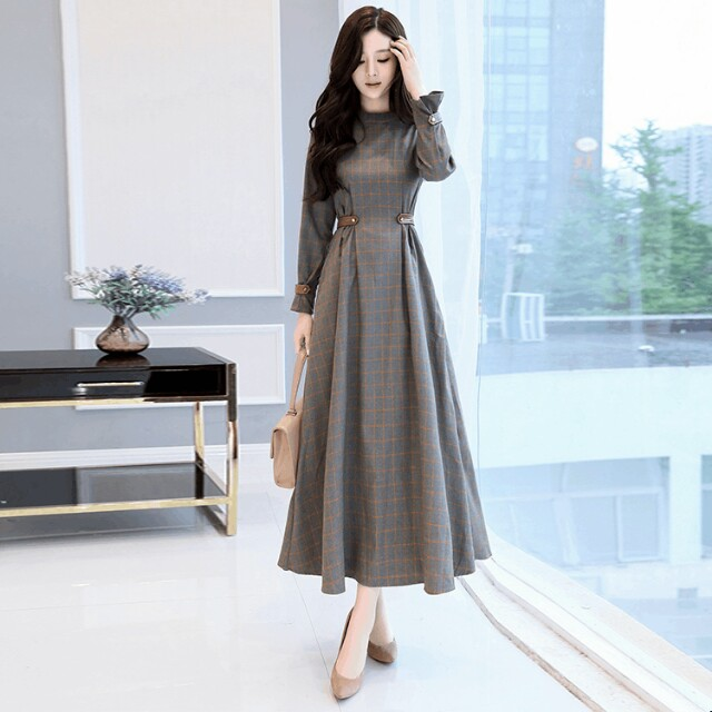 f39b21ba70d9 Korean Women s Fashion Elegant Retro Gray Checker Design Long ...
