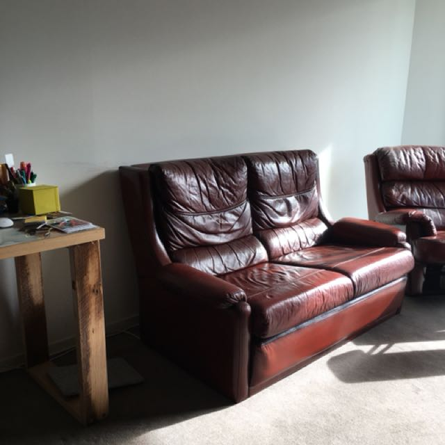 Leather sofa and two side chairs