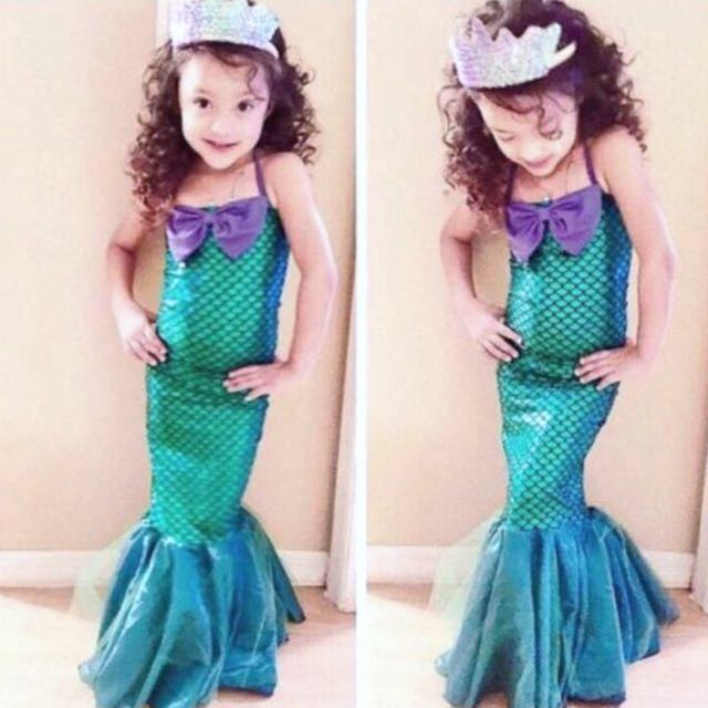 Little Mermaid Cosplay Halloween Birthday Party Dress Up Costume In Stock