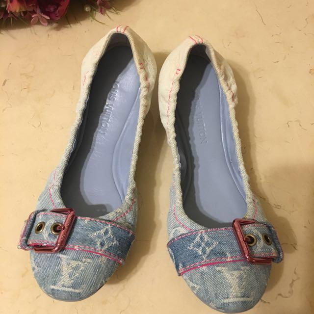 LV淺藍軟牛仔布娃娃鞋(正品)❤️週末特價❤️尺寸36號