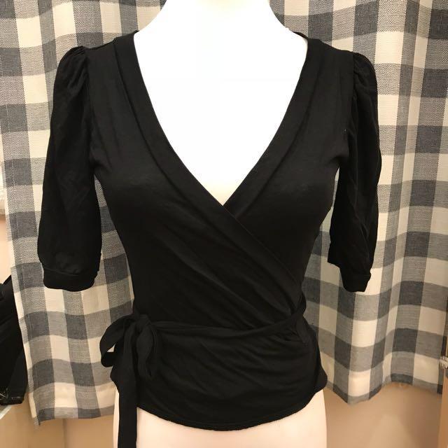 Mango黑色綁帶外套罩衫