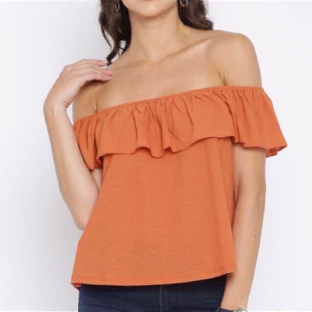 d43d8e2407137 MANGO Women Rust Orange Solid Off-Shoulder Top
