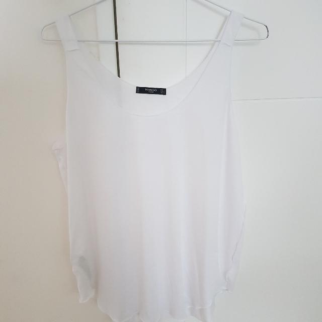 MANGO削邊反面設計白色背心無袖上衣L號