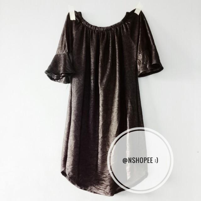 Mettalic type off shoulder dress