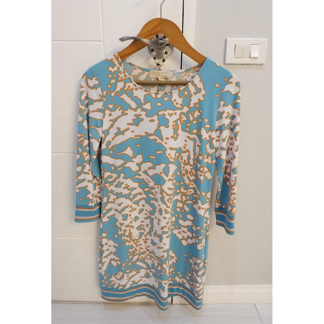 MICHAEL KORS teal long-sleeved dress