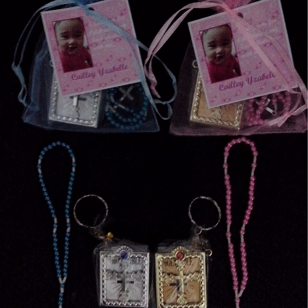 Mini Full Rosary and Mini Bible in Organza pouch with tag Souvenirs wedding, baptismal