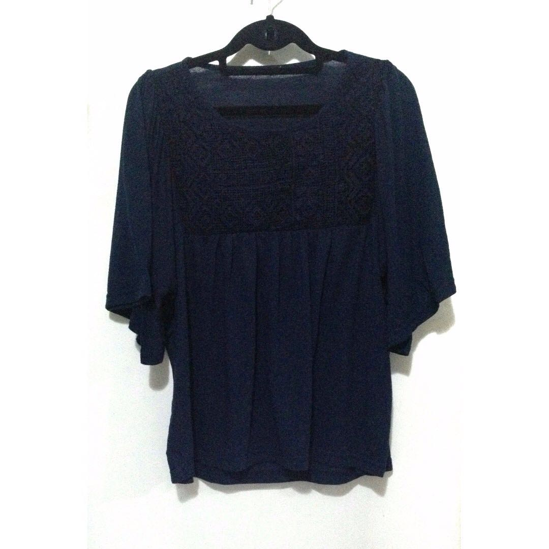Navy Blue Wide-Sleeved Top