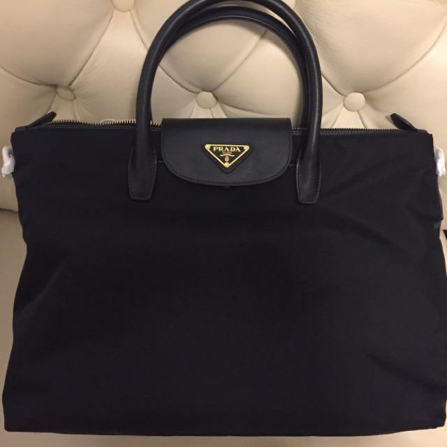 84814bc086 ... greece new prada bn2541 fabric handbag with leather trim carousell  e2dd0 7ff3a