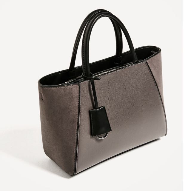 ORIGINAL ZARA BASIC GREY TOTE BAG