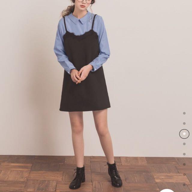 Pazzo假兩件式學院清新襯衫洋裝