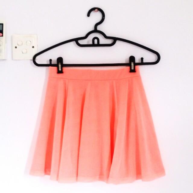 [PL] H&M Neon Coral Skater Skirt