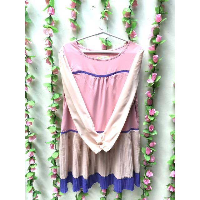 Pleated Pastel Tone Dress