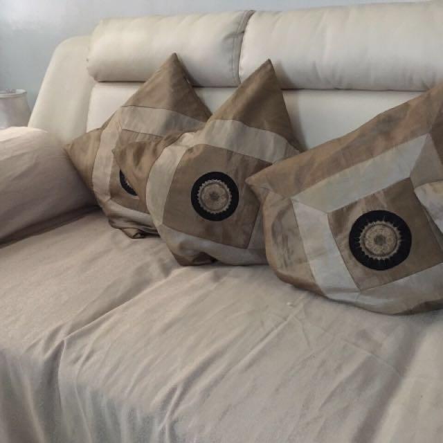 Pure white leather sofa