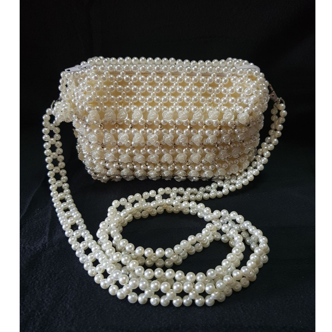 Rose Pattern Pearl Beaded Evening Sling Bags Pvc Pearls Beaded ...