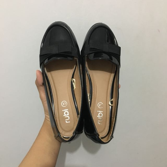 Rubi Bow Loafers Black Patent Leather Glossy