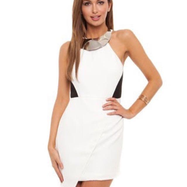 Seduce white dress with neck piece size 8