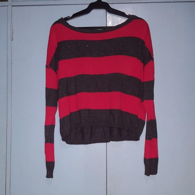 Stripe black red knit pullie