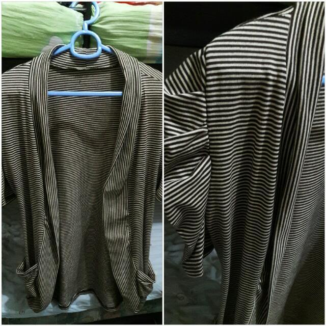 Striped Short-Sleeved Cardigan