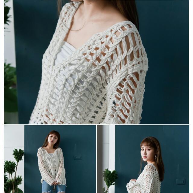韓國Stylenanda同款性感白色簍空透肌罩衫mercci22
