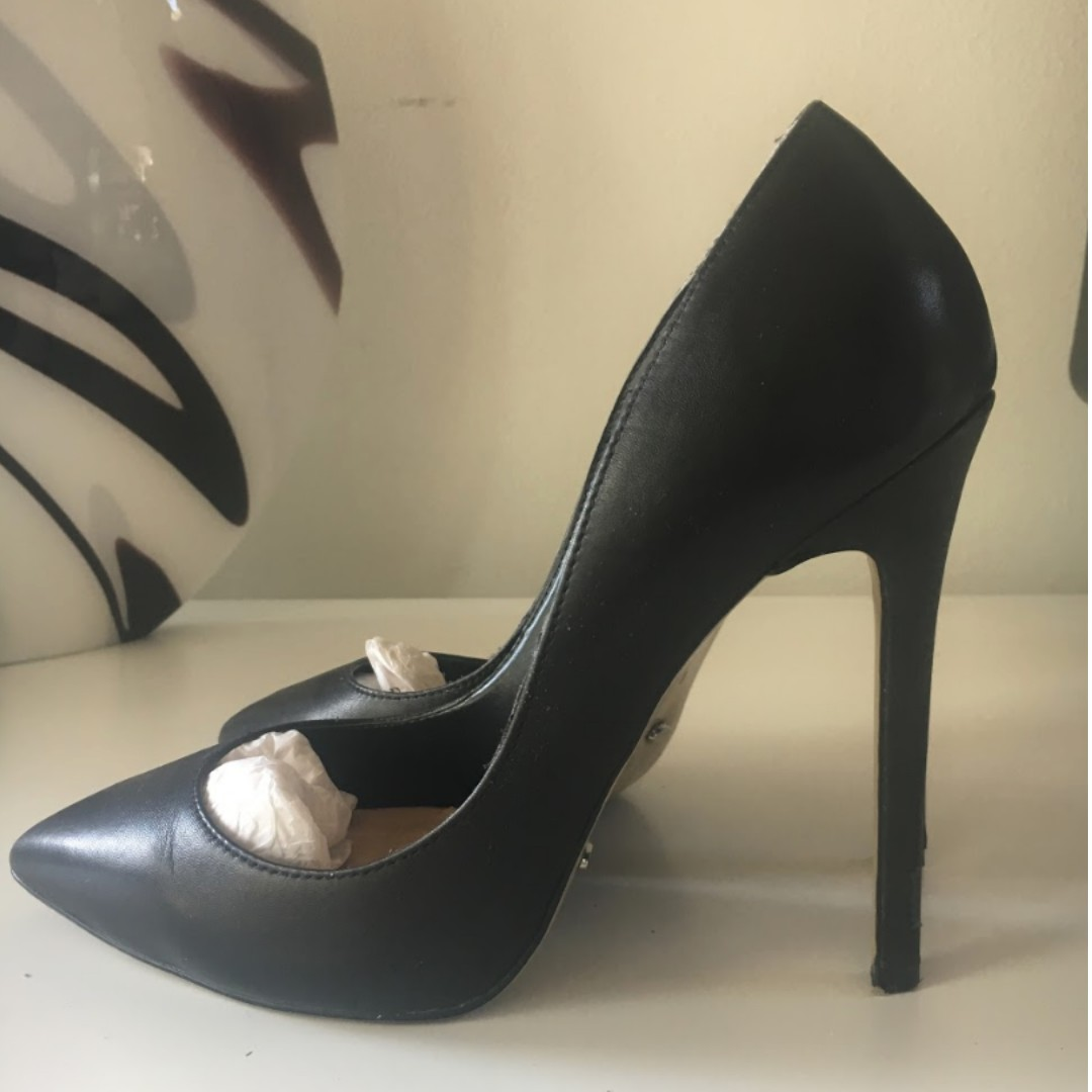Tony Bianco Leola Heels Size 8 Black Capretto Leather