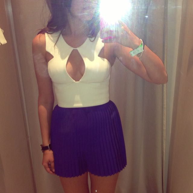 TopShop - Purple Pleated High Waisted Shorts