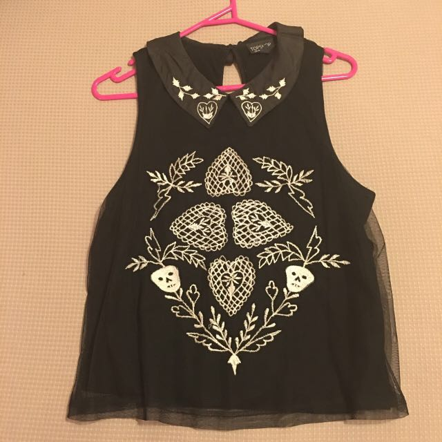 Topshop Embroidered Tank