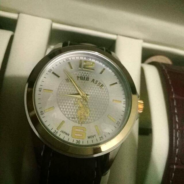 US Polo Assn Classic Men's Silver-Tone Watch with Black And Brown Faux Leather Band