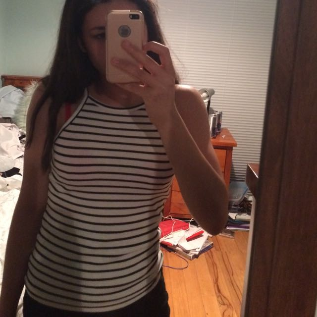 White and black striped halter top