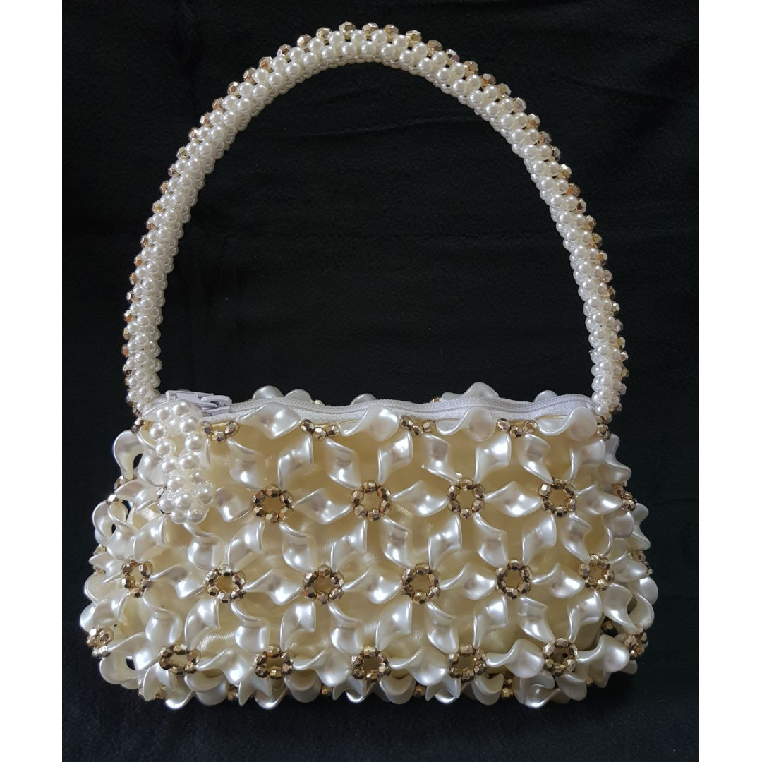 Women pearl floral designed hand bags