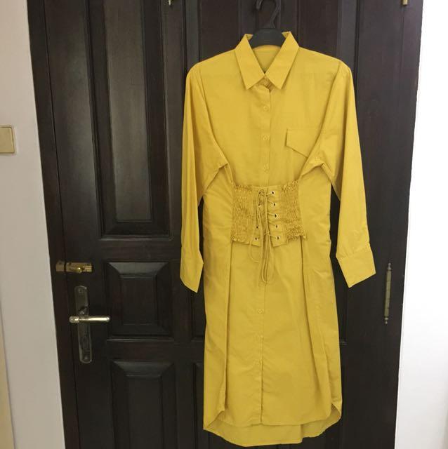 Yellow midi corsette dress